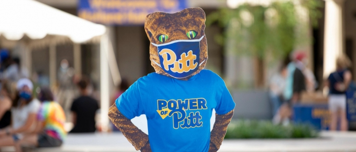 Roc Power of Pitt panther wearing mask