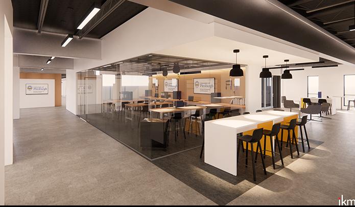 makerspace rendering in new 130 North Bellefield building