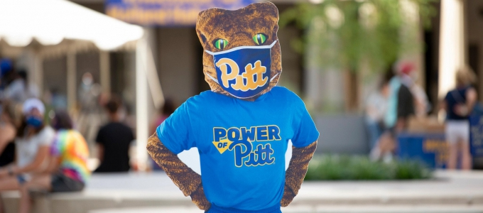 Pitt Panther wearing a face mask