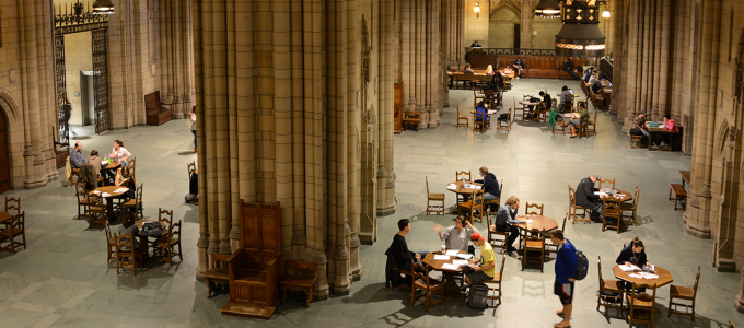 students studying in the Cathedral of Learning