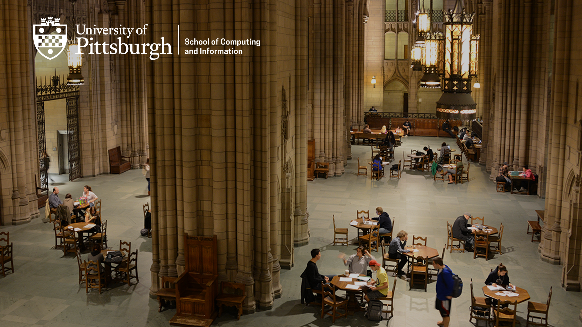 Zoom background of students studying in cathedral with logo in top left corner